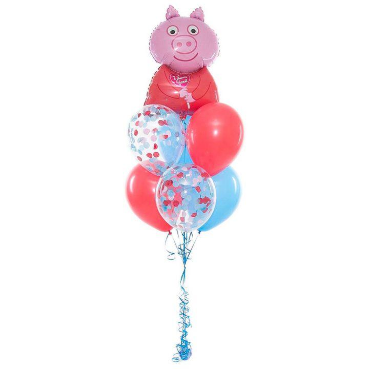 """Связка и воздушных шариков """"Свинка Пеппа с конфетой"""""""