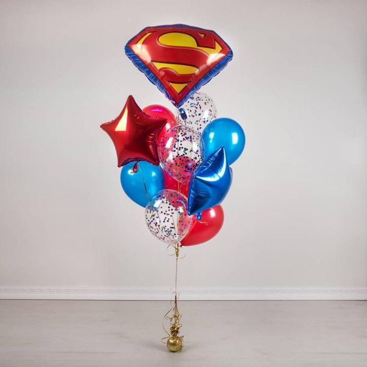"""Связка из 11 шаров """"Супермен"""""""