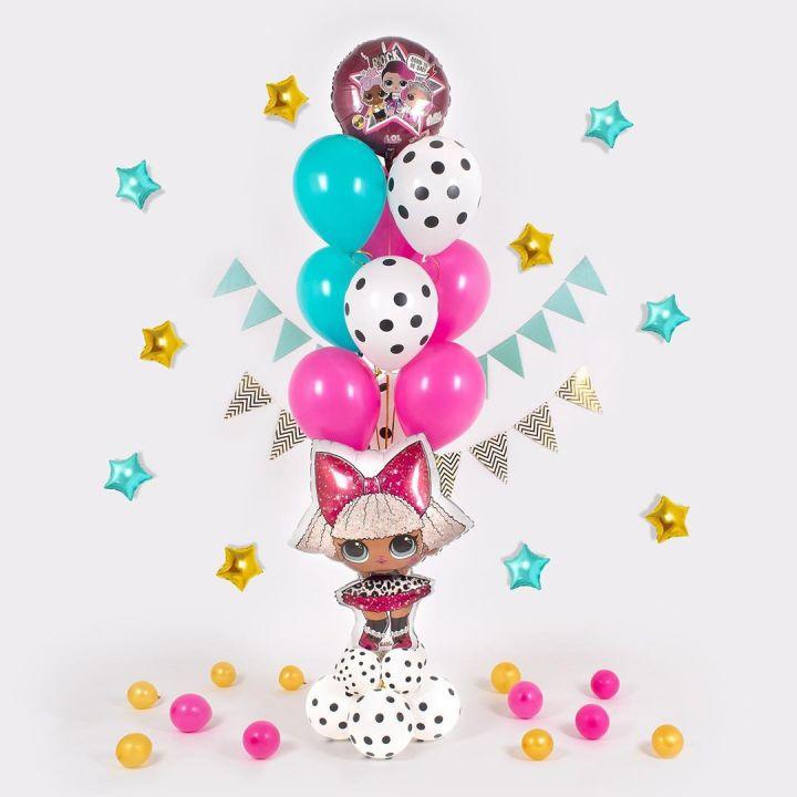 """Связка из 11 воздушных шариков """"кукла ЛОЛ"""""""