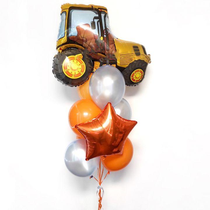 """Связка из 9 воздушных шариков """"Жёлтый Трактор"""""""