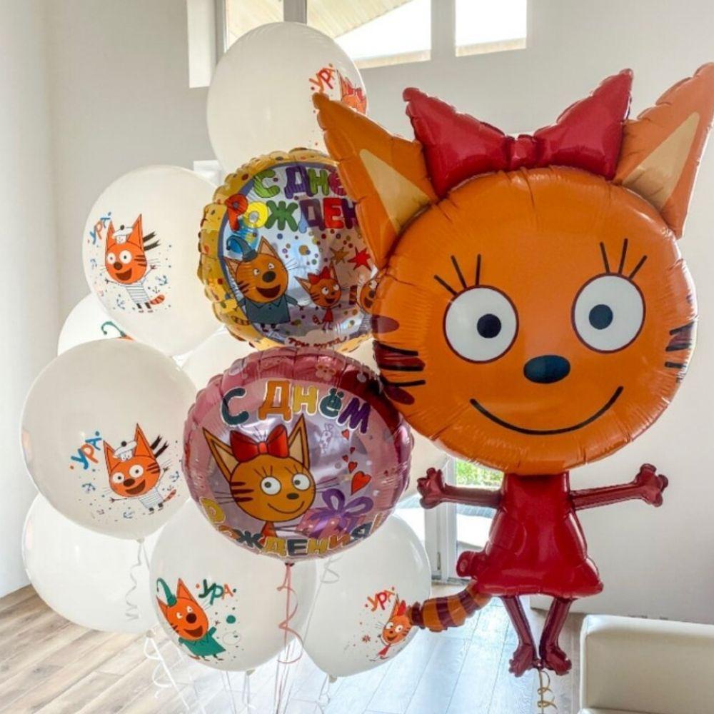 Воздушные шарики Три Кота-Карамелька и облачко