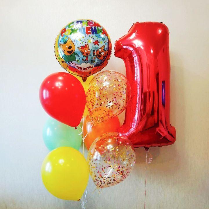 Комплект Три Кота Карамелька + Фонтан из 10 шаров