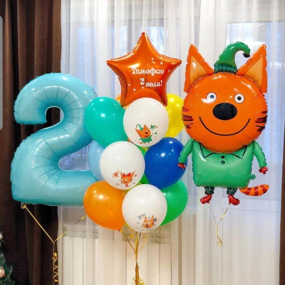 """Комплект шариков на детский праздник Три Кота """"Компот"""""""