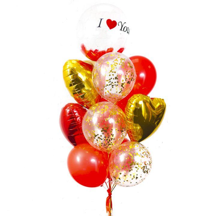 """Связка из 12  шаров """"Люблю тебя"""""""