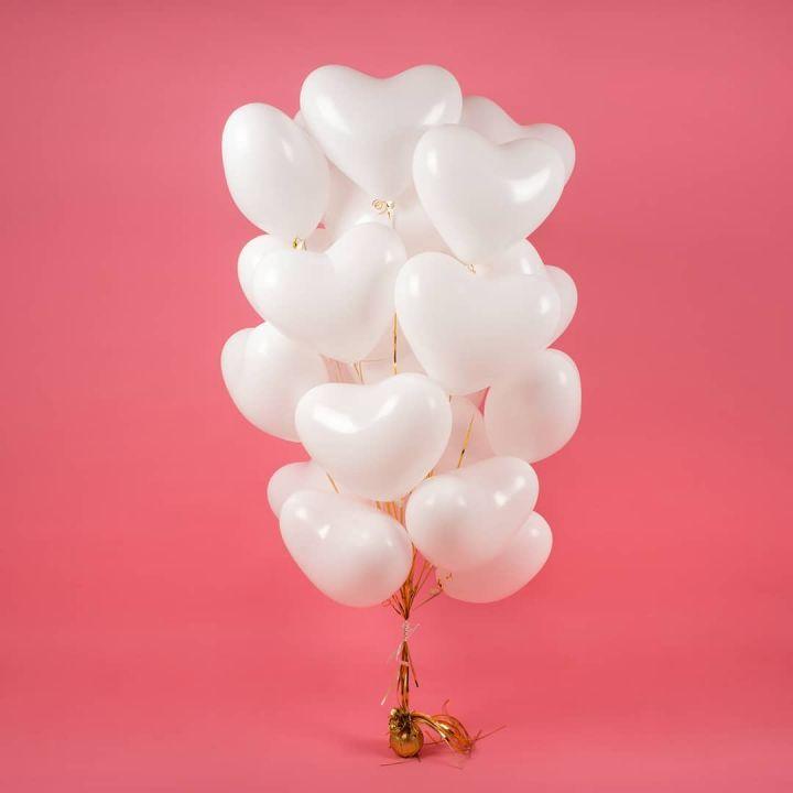 """Связка из 18 шаров """"Белые сердца"""""""