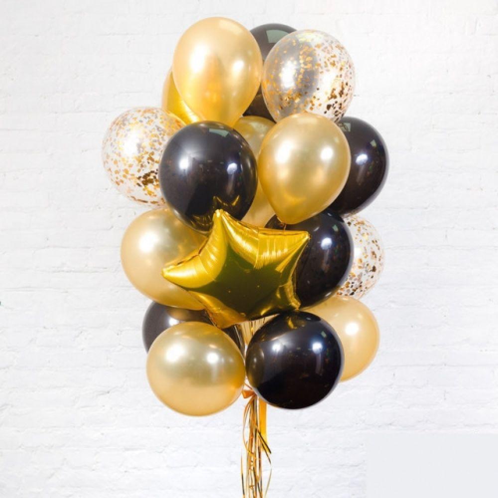Композиция воздушных шаров Черное-Золото