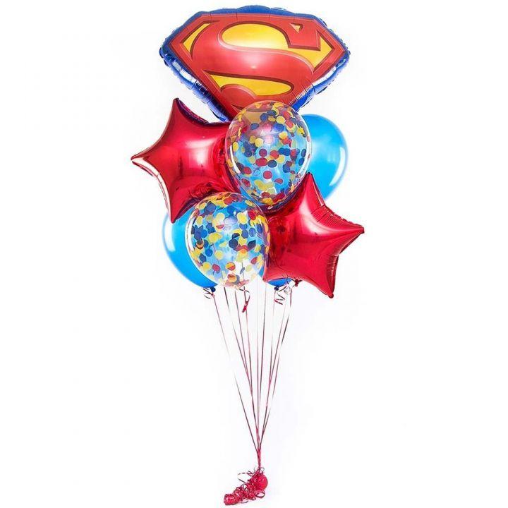 """Связка из 9 шаров """"Супермен"""""""