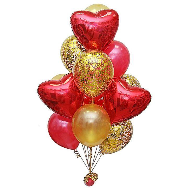 """Связка из 14 шаров """"Красное сердце"""""""