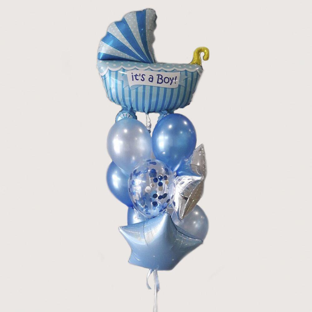 Композиция из 10 шаров на выписку