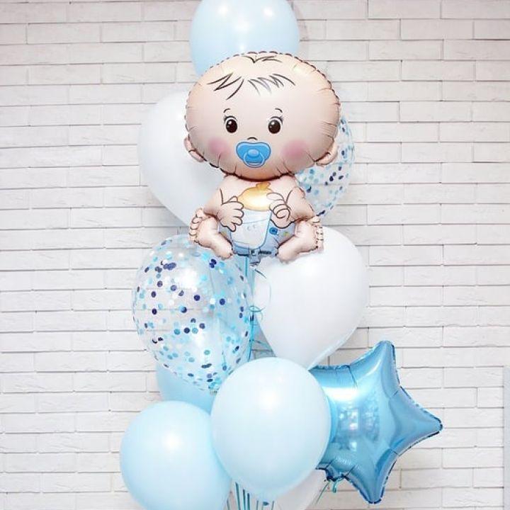 """Связка 12 шаров """"Малыш с соской"""""""