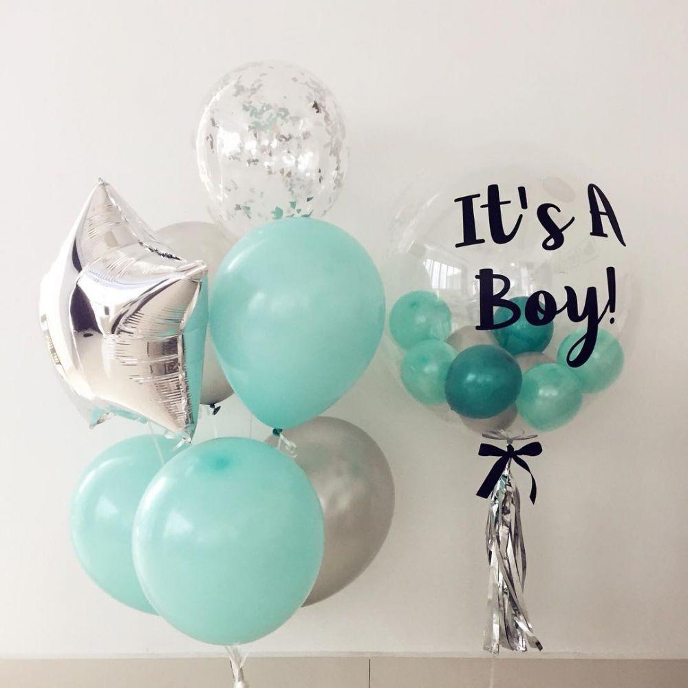 """Комплект шаров на выписку для мальчика с баблсом """"It`s a Boy!"""""""