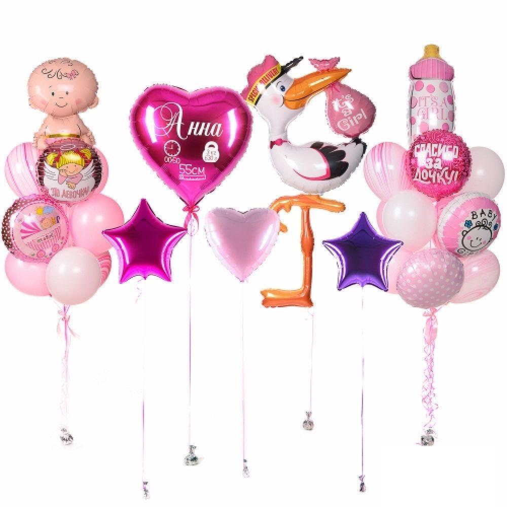 Комплект шаров на выписку для девочки Аист на ноге
