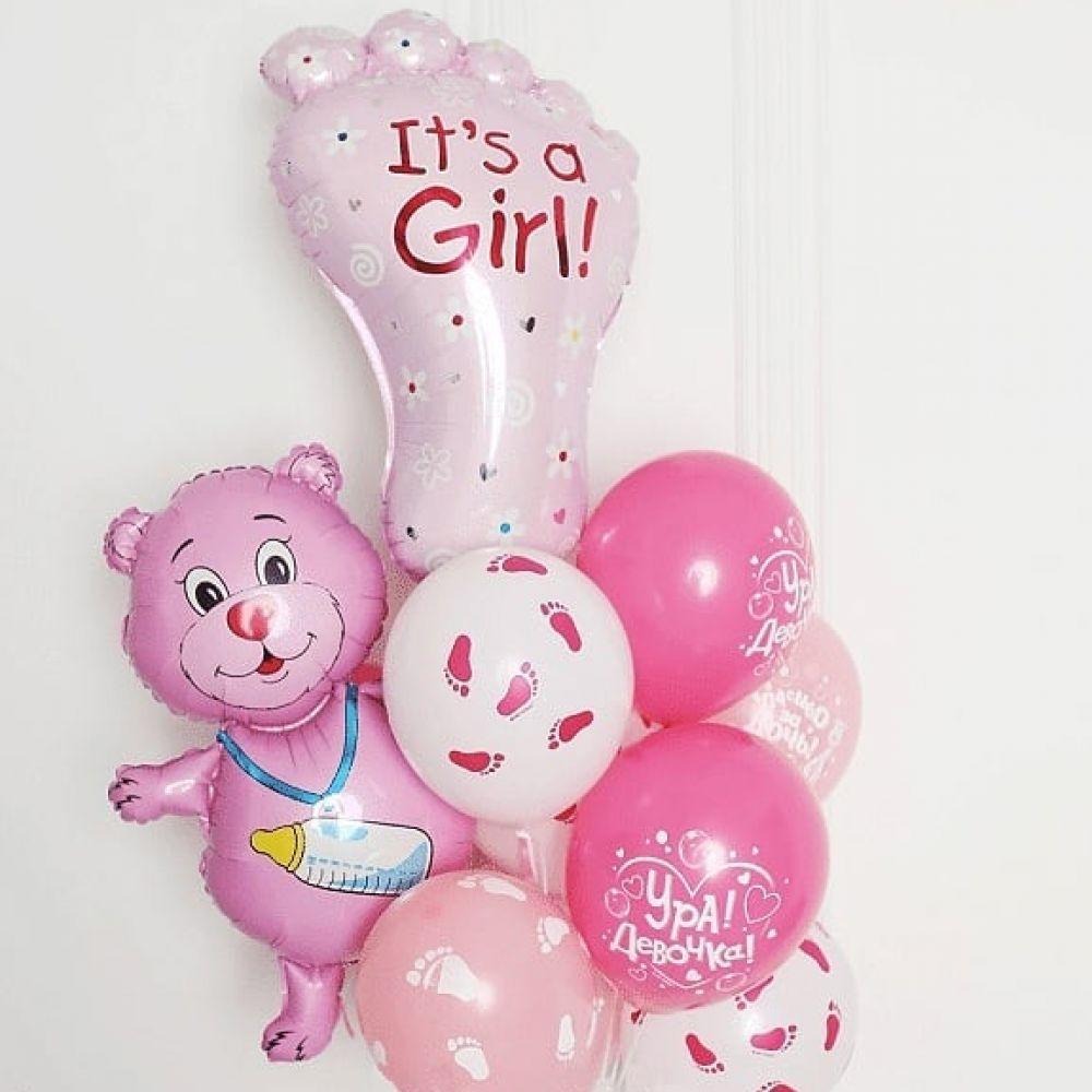"""Композиция шаров на выписку для девочки """"Ура это девочка!"""""""