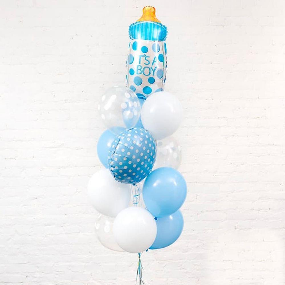"""Композиция шаров на выписку для мальчика """"детская бутылочка"""""""