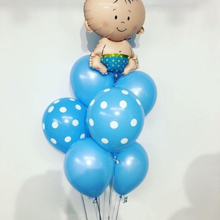"""Связка из 10 воздушных шаров """"Синий в горошек"""""""