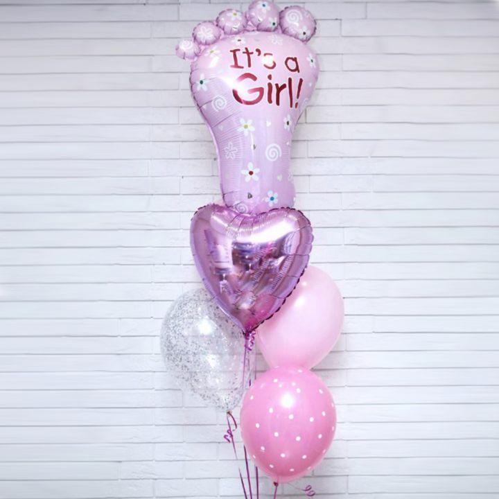 """Связка из 5 шаров """"Розовая ножка"""""""