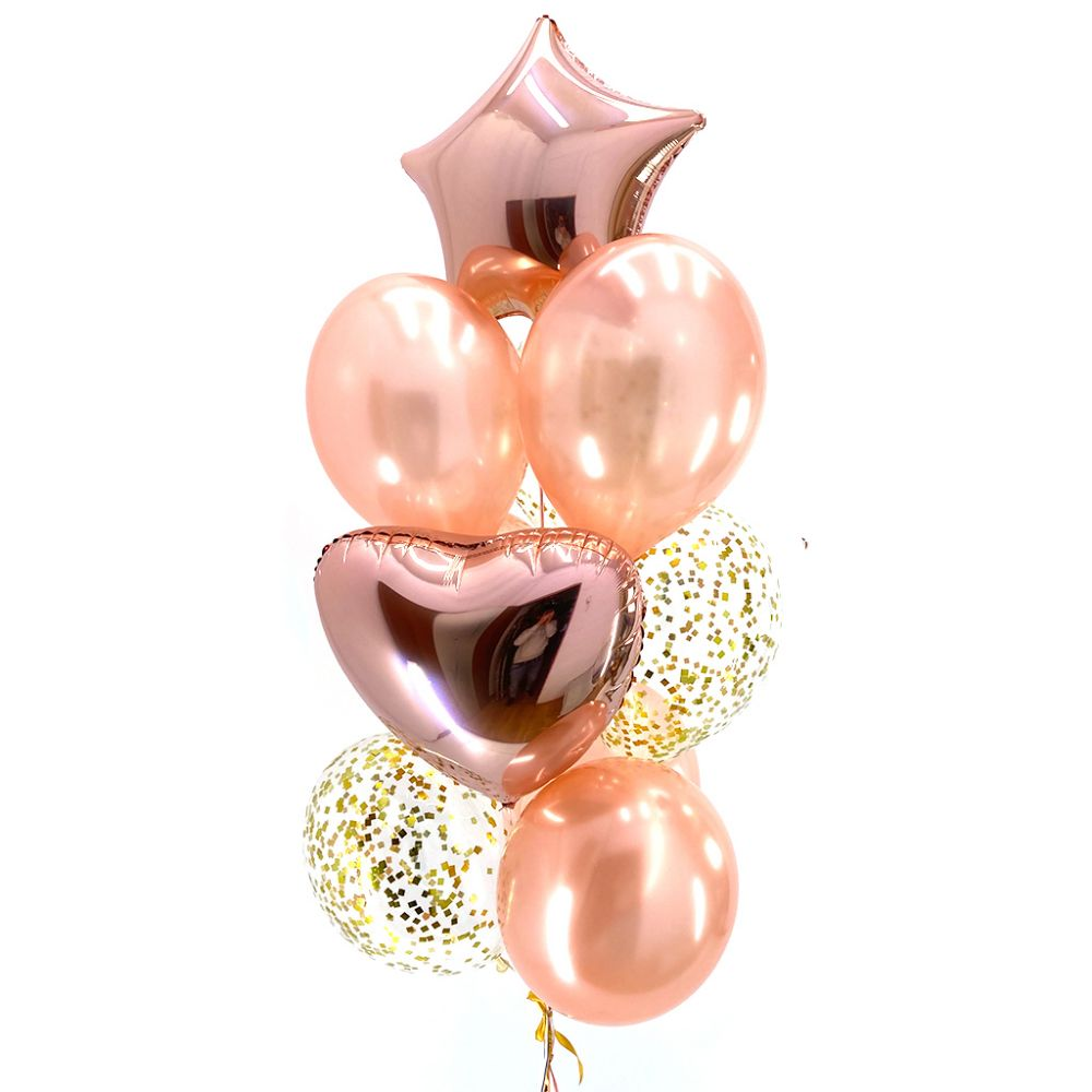"""Связка из 10 воздушных шаров """"Розовое-золото"""""""