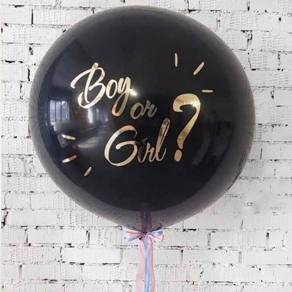 На определение пола - чёрный шар 60см - золотая надпись