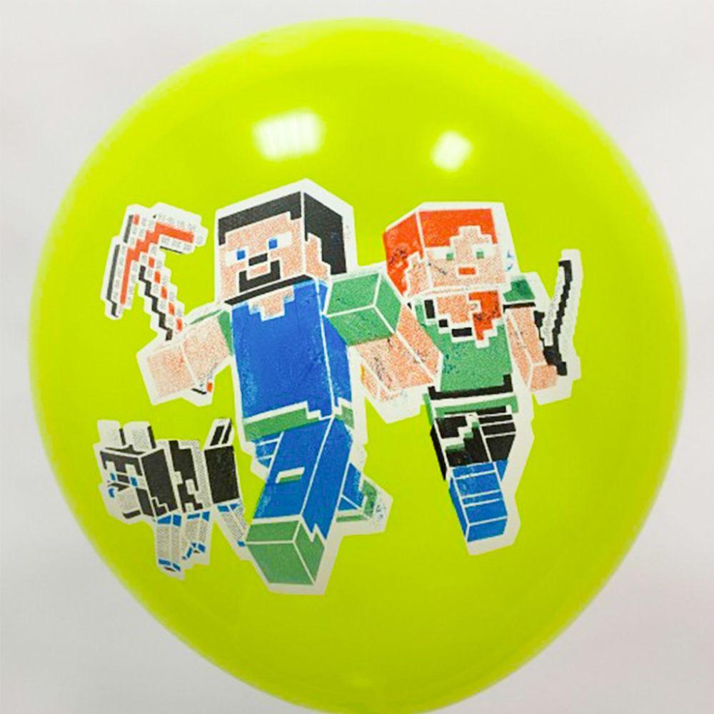 """Шар латексный с рисунком """"Minecraft"""" зелёный"""