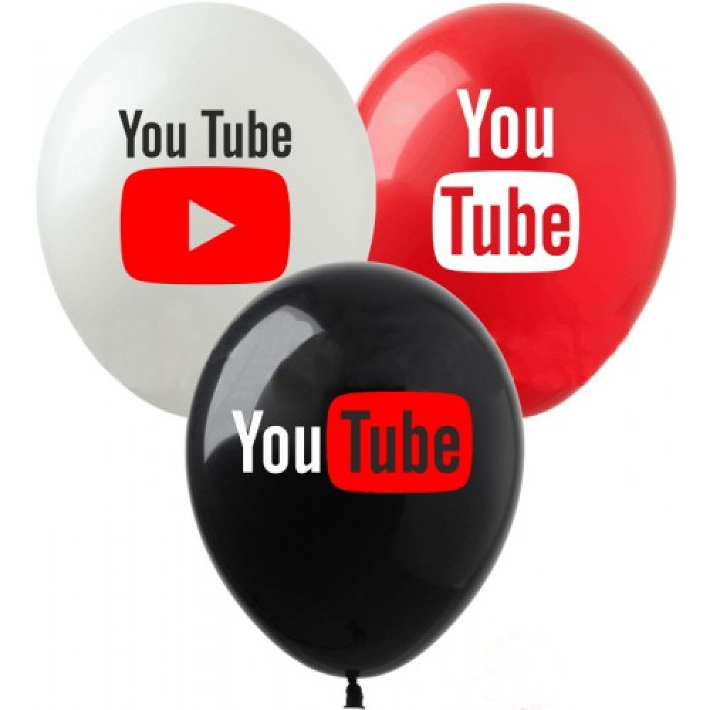 """Шар латексный с рисунком """"YouTube"""""""