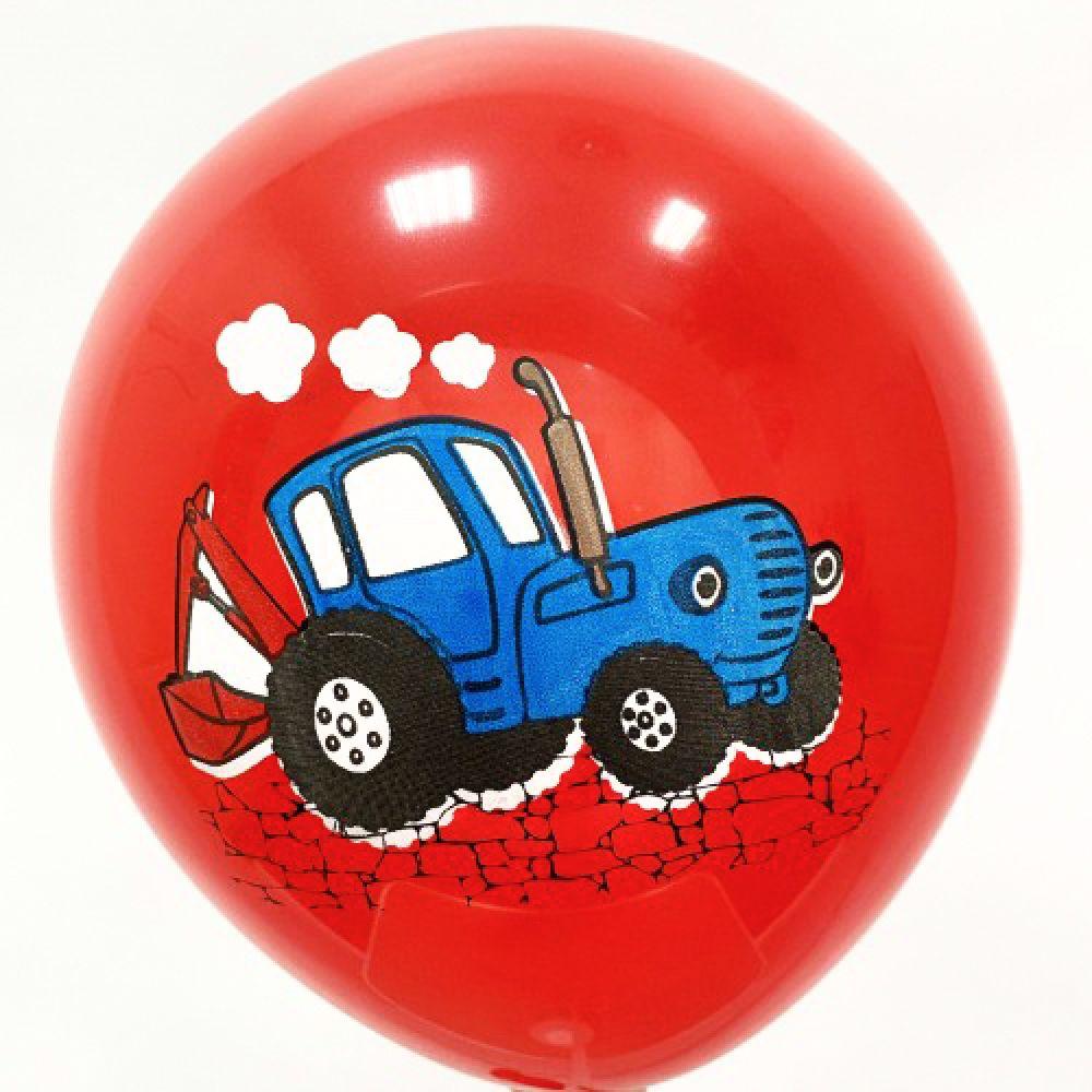 """Шар латексный с рисунком """"Синий трактор"""" на красном"""