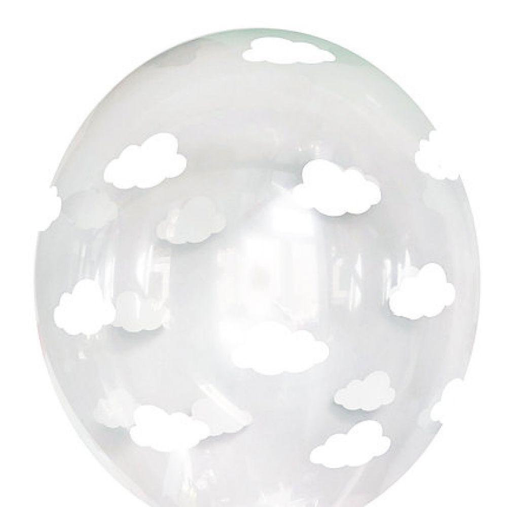 "Шар латексный с рисунком ""Облака на прозрачном"""