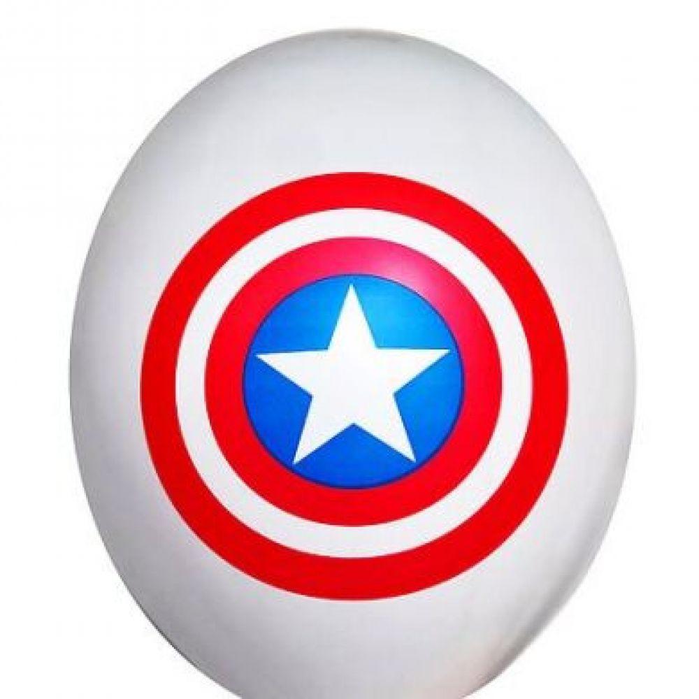 """Шар латексный с рисунком """"Капитан Америка щит"""""""