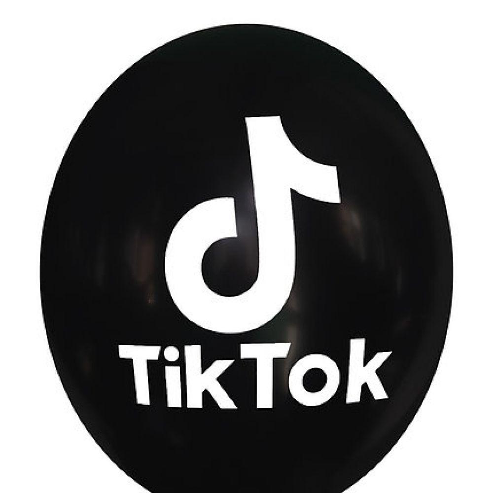 """Шар латексный с рисунком """"Тик Ток"""" чёрный"""
