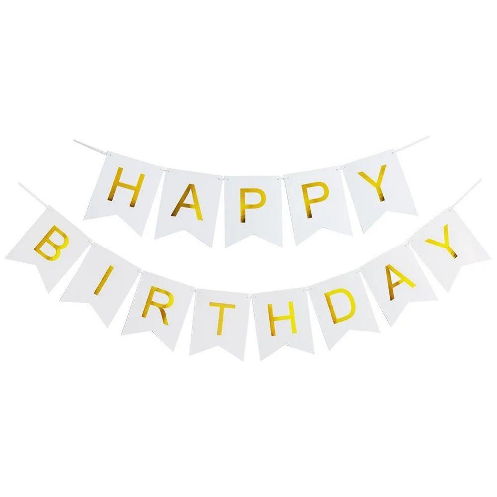 Гирлянда белая Happy Birthday золотые буквы