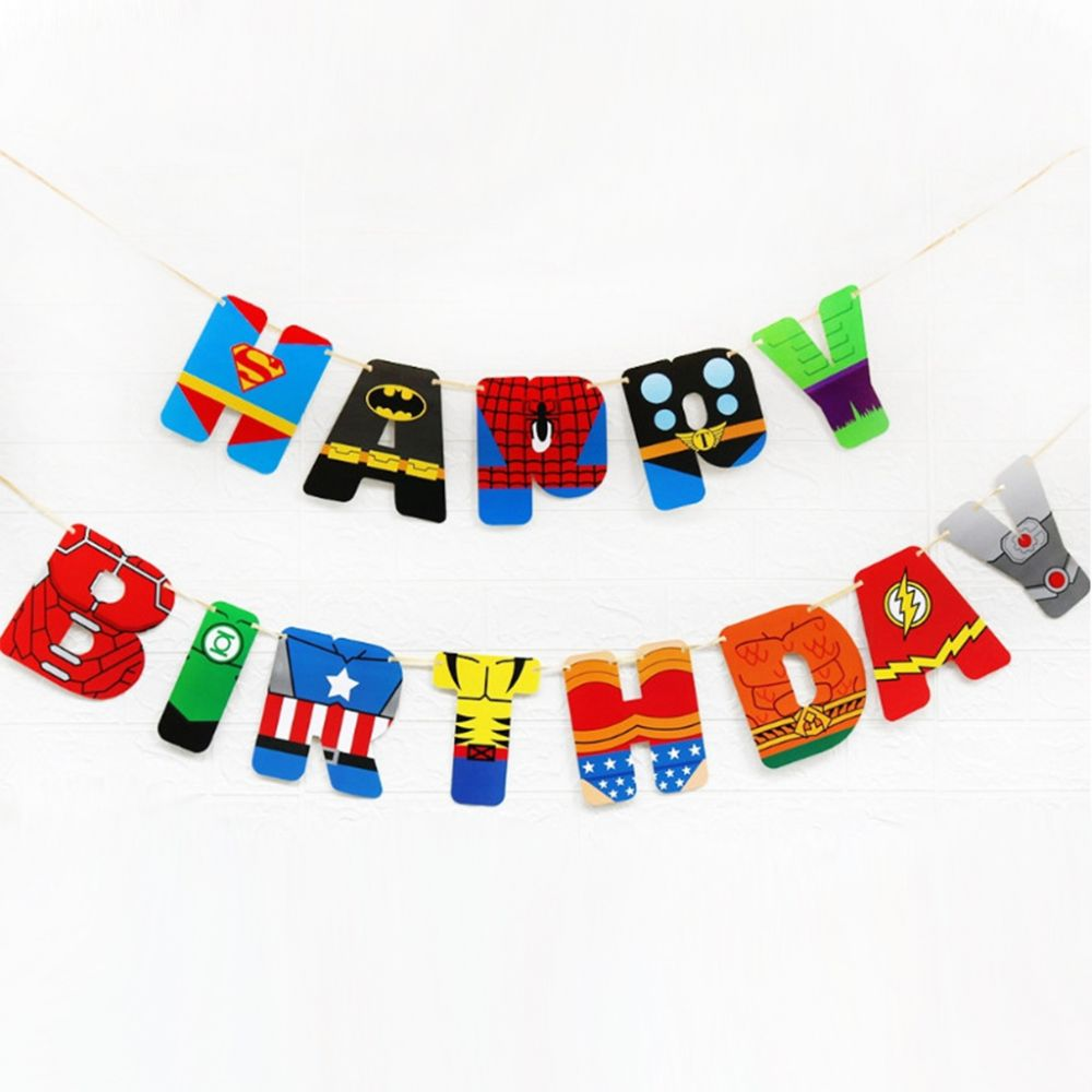 Гирлянда Happy Birthday Супергерой
