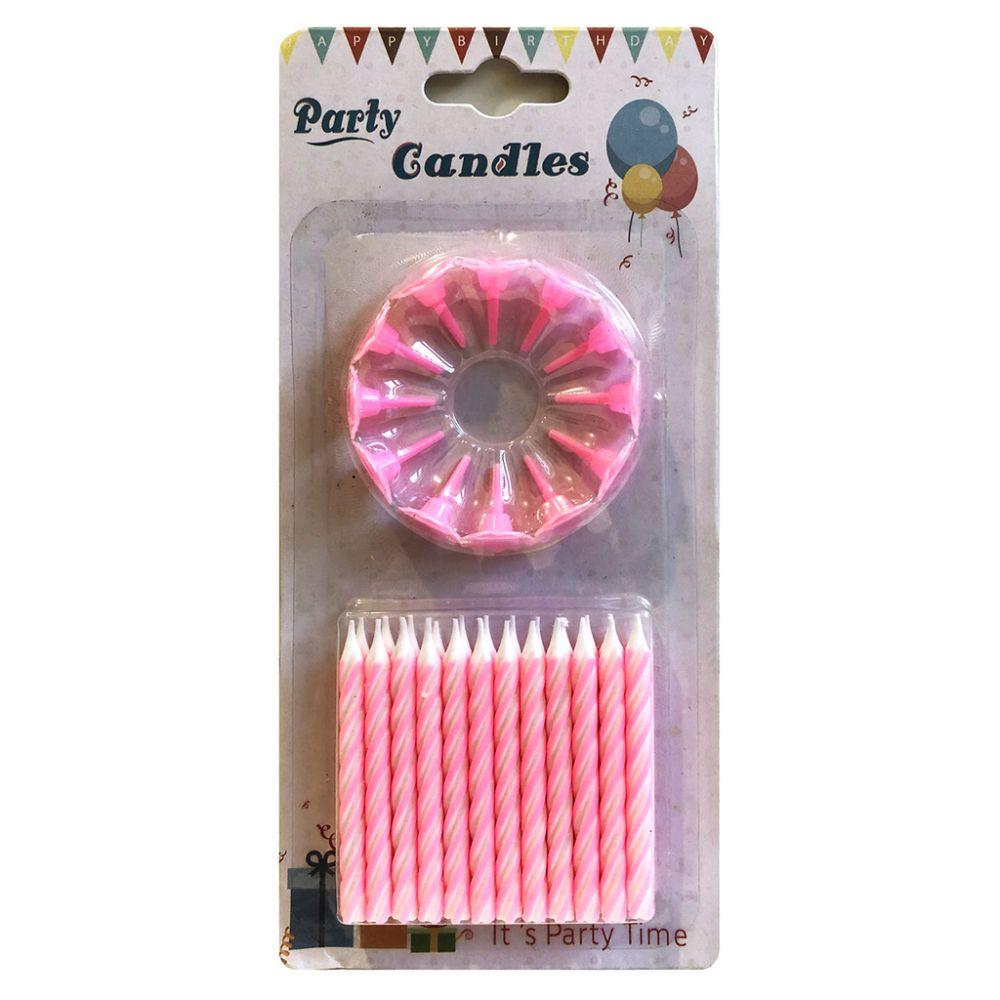 Свечи в торт розовые 24 шт