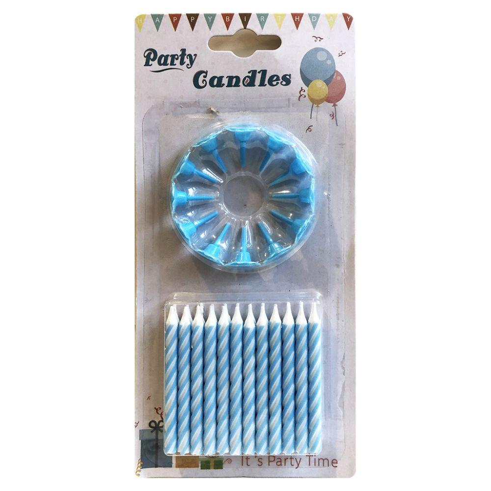 Свечи в торт голубые 24 шт