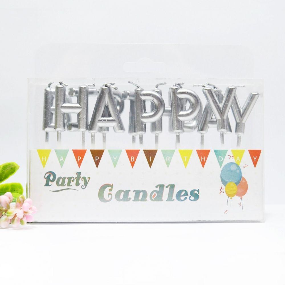 """Свечи в торт """"Happy Birthday"""" серебро"""
