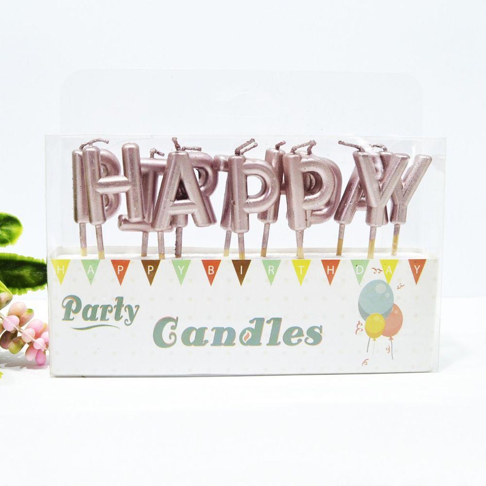 "Свечи в торт ""Happy Birthday"" розовое золото"