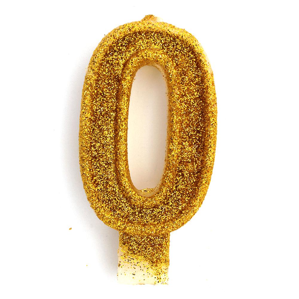 Свеча в торт цифра 0 золотая с блестками