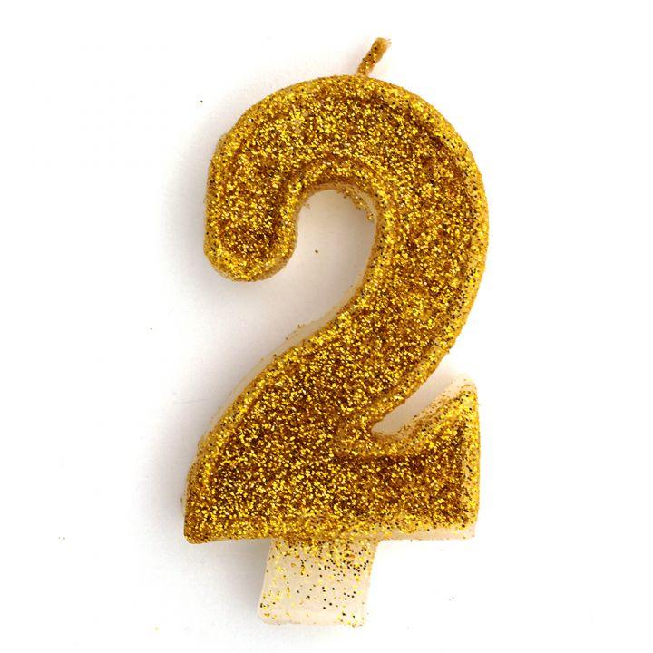 Свеча в торт цифра 2 золотая с блестками