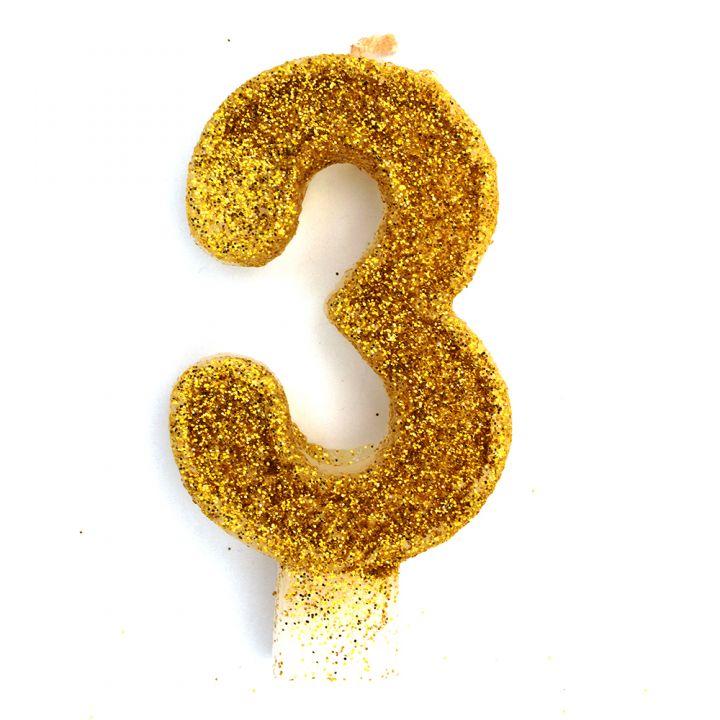 Свеча в торт цифра 3 золотая с блестками
