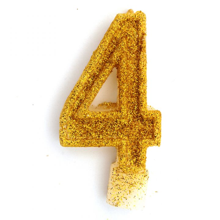 Свеча в торт цифра 4 золотая с блестками
