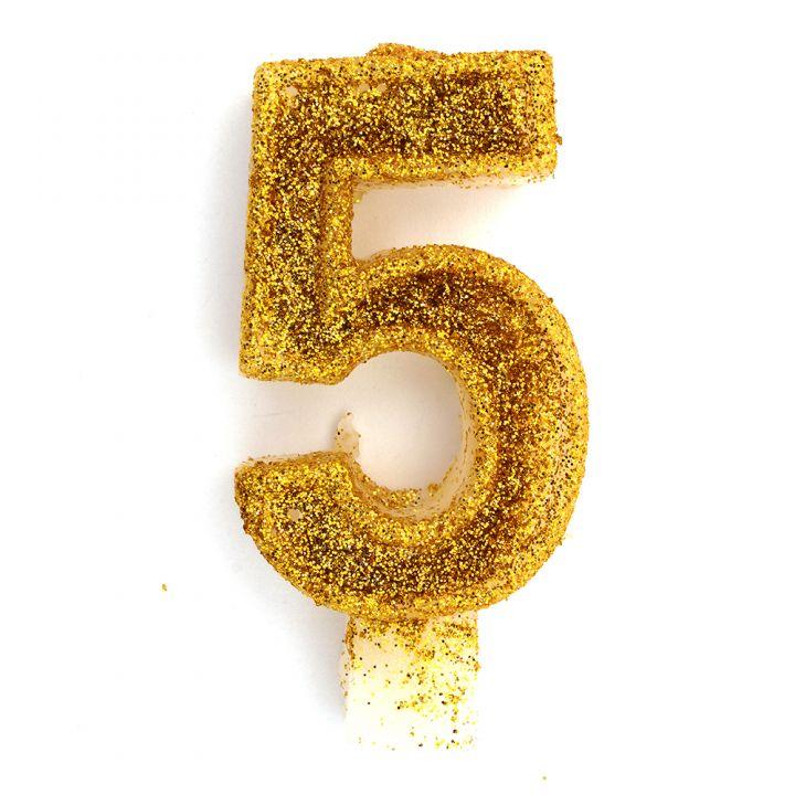 Свеча в торт цифра 5 золотая с блестками