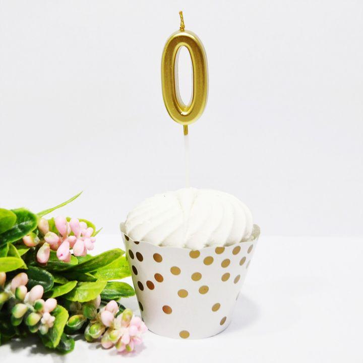 Свеча в торт цифра 0 золотая