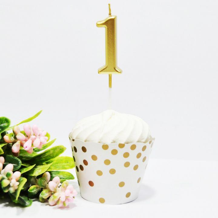 Свеча в торт цифра 1 золотая