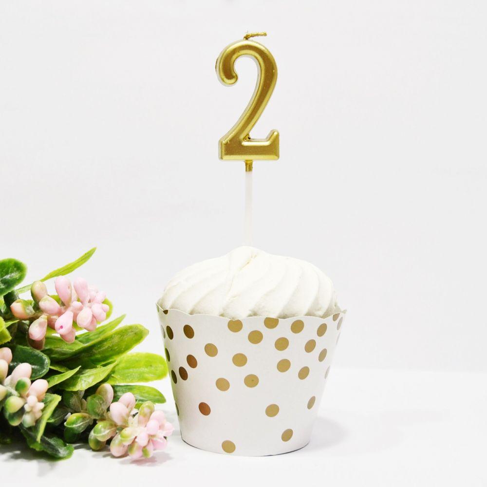 Свеча в торт цифра 2 золотая