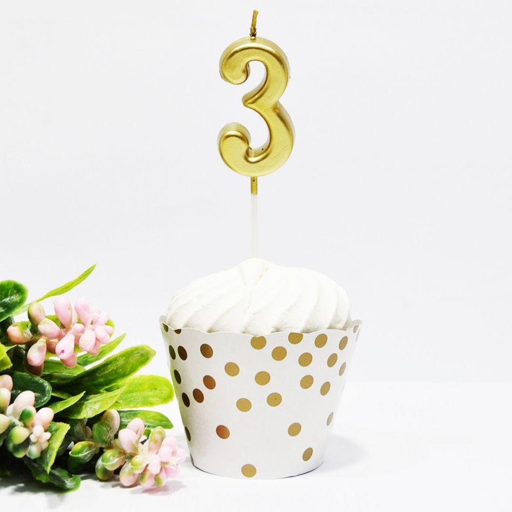 Свеча в торт цифра 3 золотая