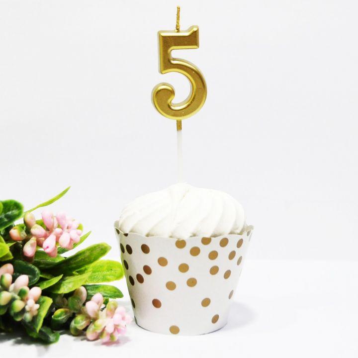 Свеча в торт цифра 5 золотая