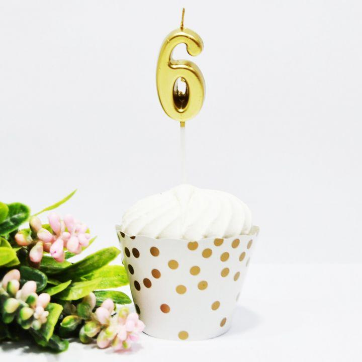 Свеча в торт цифра 6 золотая