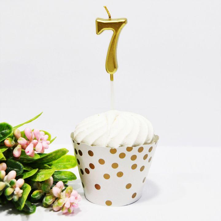 Свеча в торт цифра 7 золотая