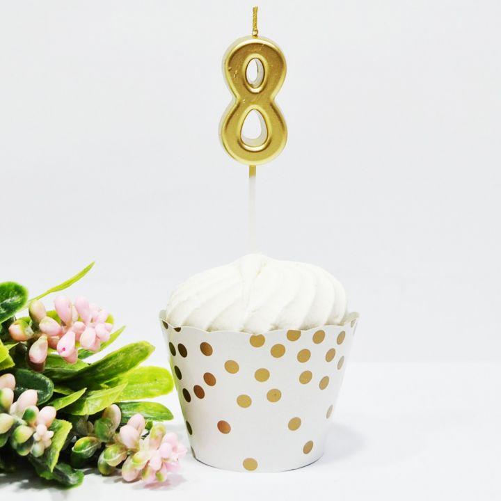 Свеча в торт цифра 8 золотая