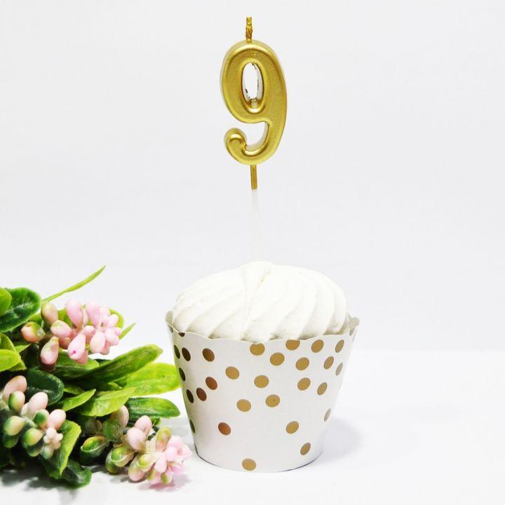 Свеча в торт цифра 9 золотая