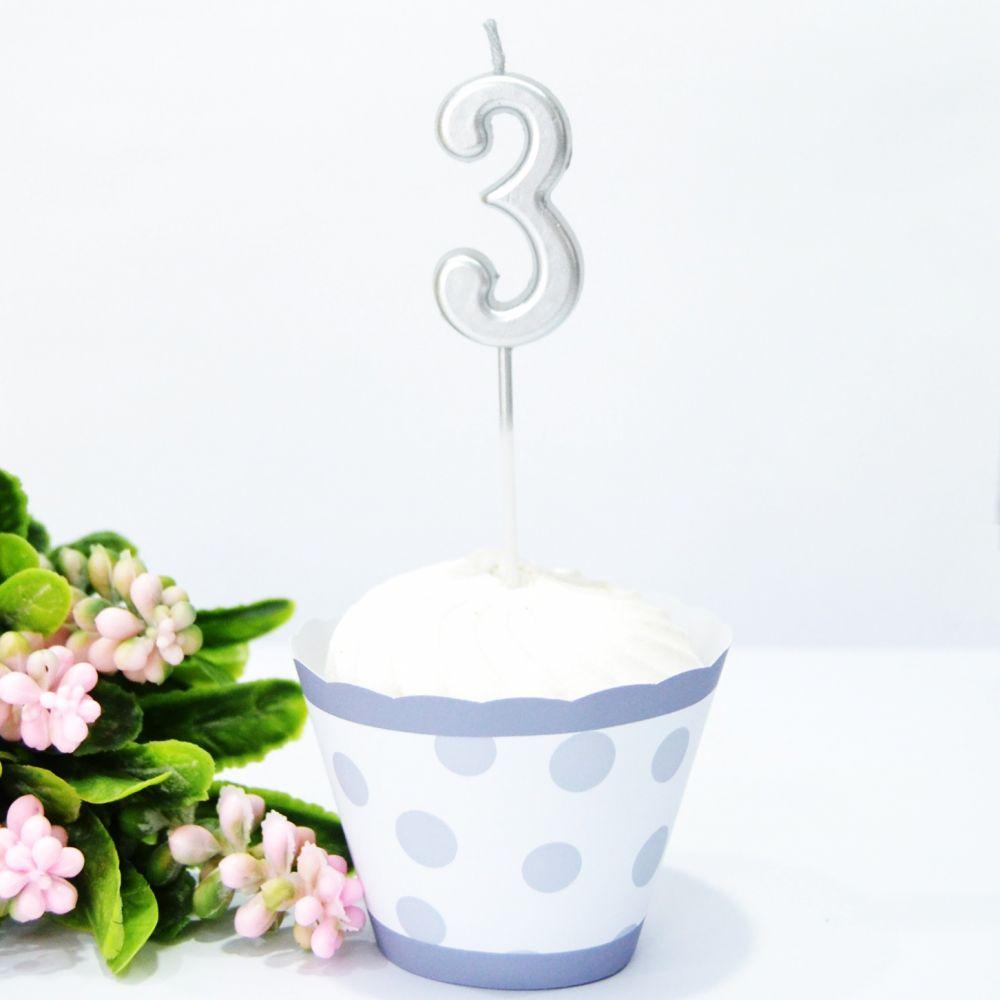 Свеча в торт цифра 3 серебро
