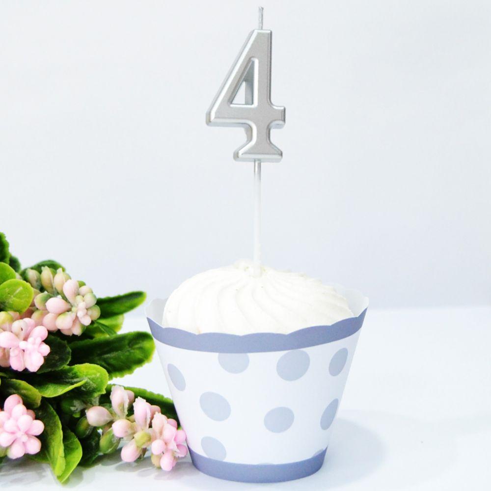 Свеча в торт цифра 4 серебро